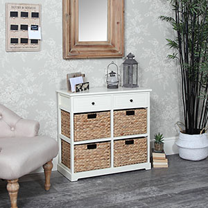 Cream Wood & Wicker 6 Drawer Basket Storage Unit