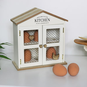 Cream Wooden Egg House