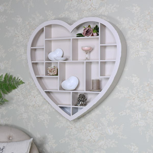 Cream Wooden Heart Multi Shelf Display Unit