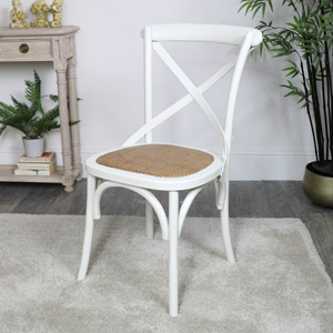 Cream Wooden Rattan Dining Chair