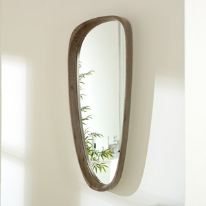 Curved Natural Wood Wall Mirror