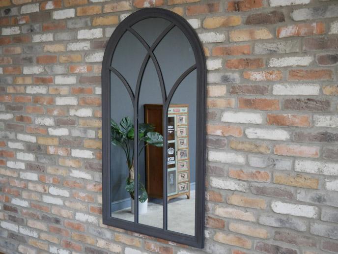 Dark Grey Arched Window Mirror 78cm x 140cm