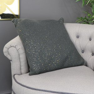 Dark Grey & Gold Square Scatter Cushion
