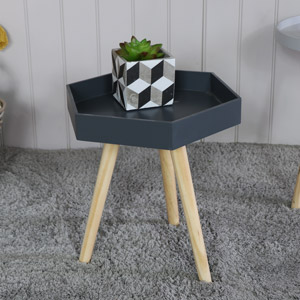 Dark Grey Hexagonal Side Table