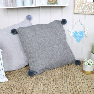Dark Grey Pom Pom Scatter Cushion