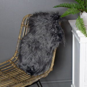 Dark Grey Single Pelt Faux Fur Rug 38cm x 55cm