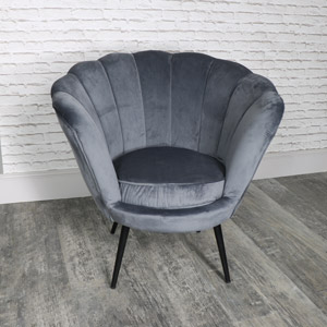 Dark Grey Velvet Boudoir Chair