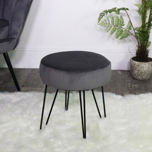 Dark Grey Velvet Stool with Black Hairpin Legs