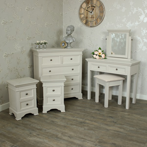 Grey Bedroom Furniture, Chest Of Drawers, Dressing Table & Pair of Bedside Tables - Daventry Taupe-Grey Range