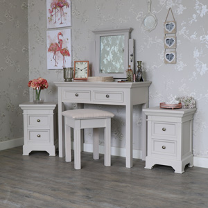 Grey Bedroom Furniture, Pair of Bedside Tables, Dressing Set - Daventry Taupe-Grey Range