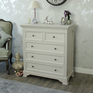 Grey 5 Drawer Chest of Drawers - Daventry Taupe-Grey Range DAMAGED SECONDS ITEM 1500