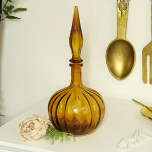 Decorative Amber Glass Apothecary Jar