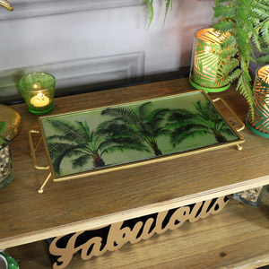 Decorative Antique Gold Palm Tree Display Tray