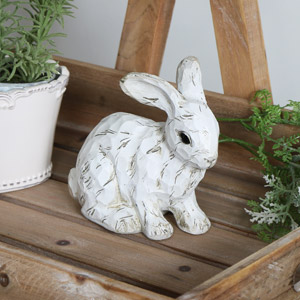 Decorative Crouching White Rabbit Ornament