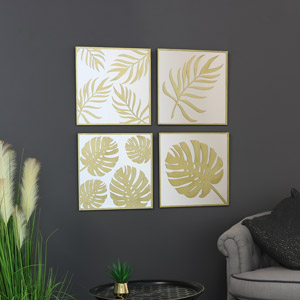 Decorative Gold Metal Leaf & Mirror Wall Art Plaques