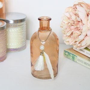 Decorative Orange Glass Bottle Vase