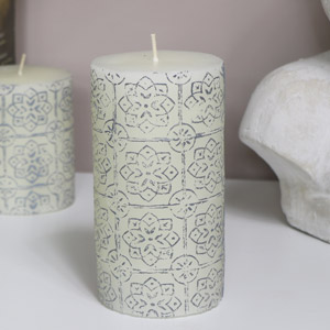 Decorative White Pillar Candle