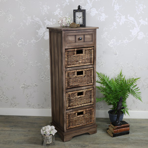 Tall Rustic Wooden 1 Drawer 4 Basket Storage Unit - Dorchester Range