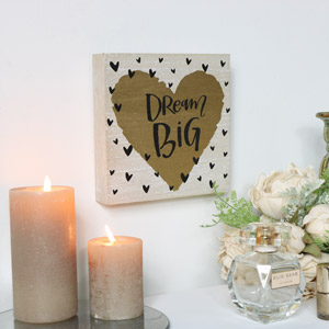 'Dream Big' Golden Heart Wall Plaque