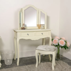 Dressing Table, Triple Mirror and Stool Set - Elise Cream Range