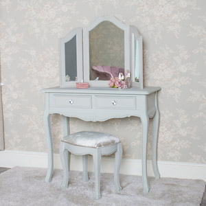 Dressing Table, Triple Mirror and Stool Set - Elise Grey Range