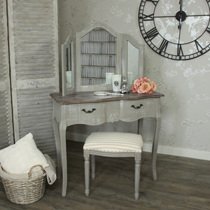 Dressing Table with Stool and Triple Mirror - French Grey Range