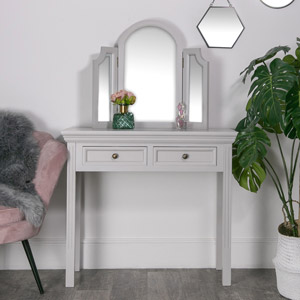 Grey Dressing Table with Triple Vanity Mirror Set - Daventry Dove-Grey Range