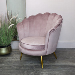 Dusky Pink Velvet Shell Chair