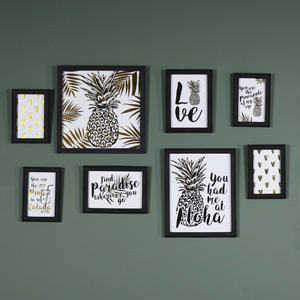 Eight Black Wall Mounted Photograph Frames