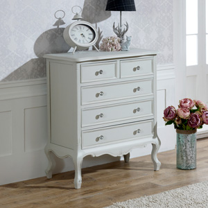 5 Drawer Chest of Drawers - Elise Grey Range