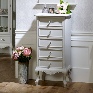 5 Drawer Tall Boy Chest - Elise Grey Range