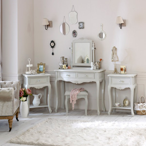 Elise Grey Range - Furniture Bundle, Dressing Table, Mirror, Stool & 2 Bedside Tables