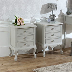 Bedroom Set, Pair of 3 Drawer Bedside Table - Elise Grey Range