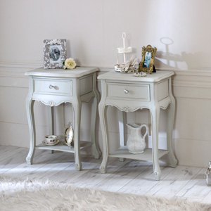 Pair of One Drawer Grey Bedside Lamp Tables - Elise Grey Range