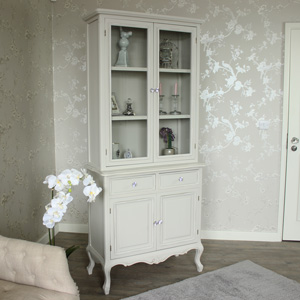 Elise Grey Range - Glazed Display Cupboard