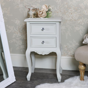 Elise Grey Two Drawer Ornate Bedside Table