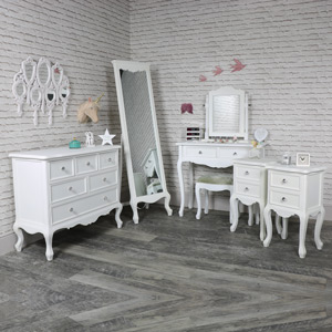 Bedroom Set, Chest of Drawers, Cheval Mirror, Dressing Table, Mirror, Stool and 2 Bedside Tables - Elise White Range
