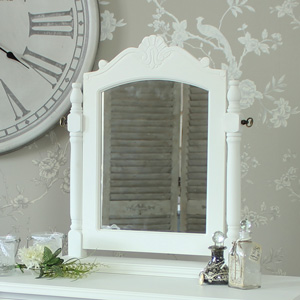 White Dressing Table Swing Mirror - Elise White Range