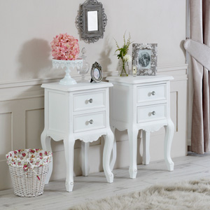 Pair of White Two Drawer Bedside Tables - Elise White Range