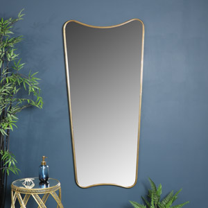 Extra Large Antiqued Gold Curved Wall / Floor / Leaner Mirror 69cm x 147cm