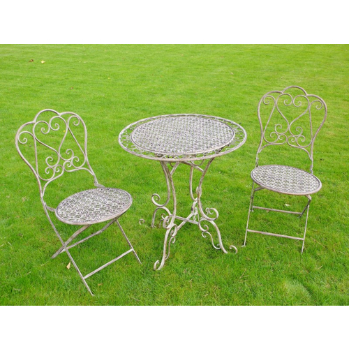 Rustic Table and Two Chairs Bistro Set