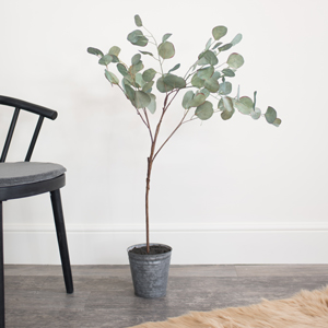 Faux Eucalyptus Tree in Metal Pot