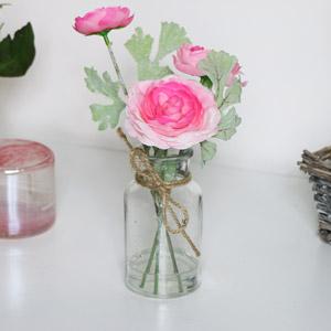 Faux Pink Flowers in Glass Jar