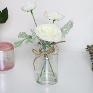 Faux White Flowers in Glass Jar