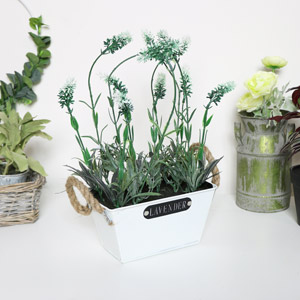 Faux White Lavender in Metal Pot