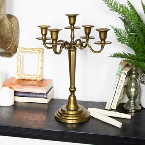 Five Arm Brass Candelabra
