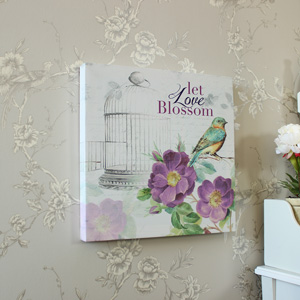 Floral Bird 'Let Love Blossom' Canvas Print