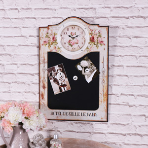 Floral Wall Clock with Magnetic Memo Blackboard