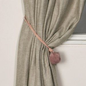 Pair of Fluffy Pink Pompom Curtain Tiebacks