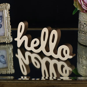 Freestanding Gold 'Hello' Standing Letters